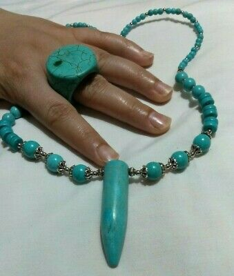 Ancient NECKLACE +RING Turquoise VIKING EXTREMLY RARE OLD Stone PENDANT AMULTE