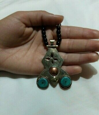 Ancient NECKLACE BRONZE Turquoise VIKING OLD Stone Pendant AMULTE museum quality
