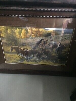 "TIM COX Framed Matted PRINT 213/950 Signed Numbered 'Cross the Creek"" COA"