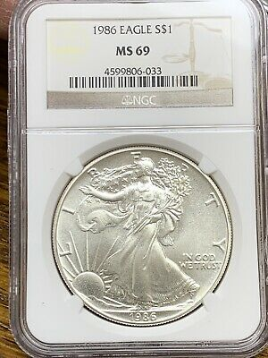 1986 American Silver Eagle NGC MS 69 . No Reserve.