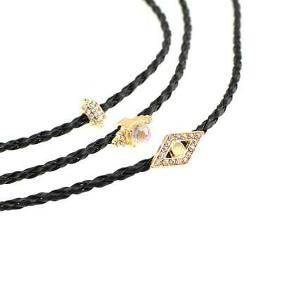 3pcs Handmade Black Leather Choker Collar Necklace with Rhinestone Pendant