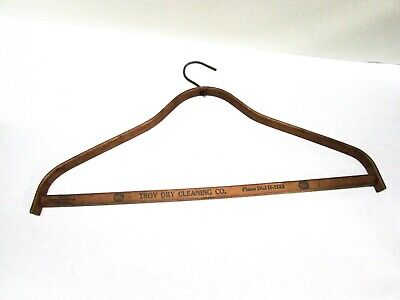 Antique Wood Clothes Hanger Advertising Troy Dry Cleaning