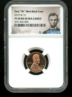 """2019 W 1C NGC PF 69 RD(Proof 69 Red) Ultra Cameo First """"W"""" Mint Mark Cent TA61"""