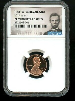 """2019 W 1C NGC PF 69 RD(Proof 69 Red) Ultra Cameo First """"W"""" Mint Mark Cent TA64"""