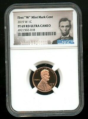 """2019 W 1C NGC PF 69 RD(Proof 69 Red) Ultra Cameo First """"W"""" Mint Mark Cent TA66"""