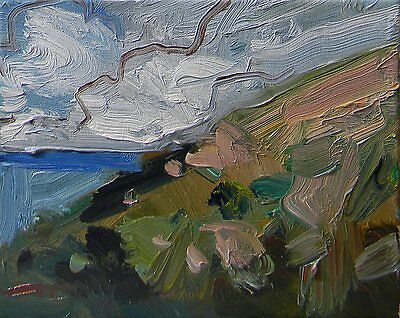 JOSE TRUJILLO ORIGINAL - OIL PAINTING Modern IMPRESSIONIST SEA CLIFF CLOUDS