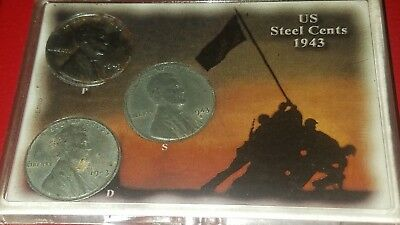 1943 P, D & S Steel Lincoln Wheat Cent Set. Circulated. 3 Coins Total.