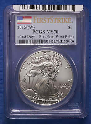 2015-W American Silver Eagle PCGS MS70 First DayFirst StrikeStruck at West Point