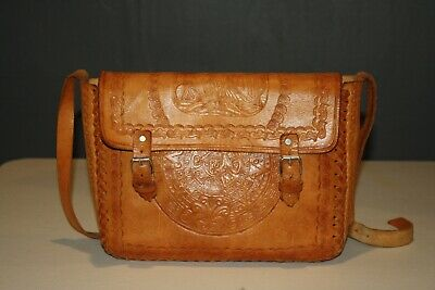 Vintage Mexican Hand Tooled Leather Purse Aztec Design Bird w Snake