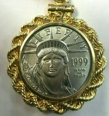 1999 1/10oz Platinum $10 American Eagle Coin in 14K Yellow Gold Pendant Bezel