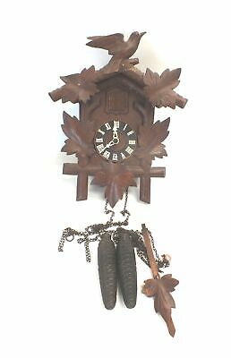 Vintage Hubert Herr Cuckoo Clock With Weights Birds And Leaves Design - R09