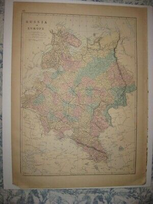 Huge Gorgeous Antique 1875 Russia In Europe Handcolo Map Railroad Transcaucasia
