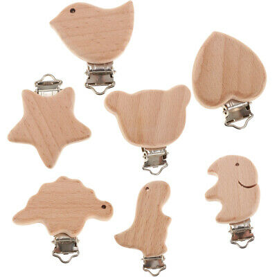 Wooden Natural Beech Wood Baby Pacifier Clips Dummy DIY Chain Accessory