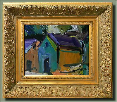 JOSE TRUJILLO Abstract Original FRAMED Oil Painting Impressionist HOUSES FAUVIST