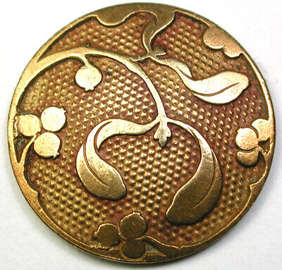 BB Antique Brass Button Art Nouveau Floral Design - 1 & 1/16""