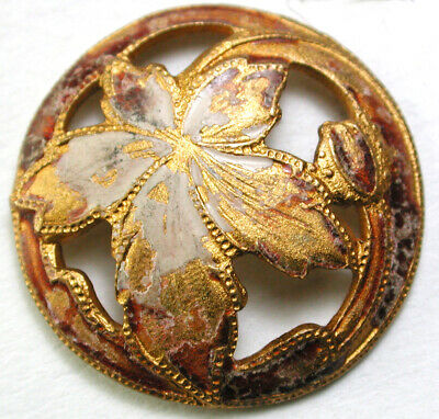 BB Antique Pierced Brass Button Maple Leaf w/ Enamel Accents - 7/8""
