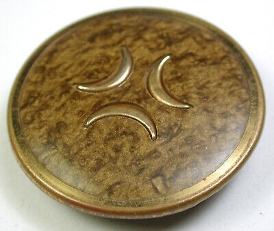BB Antique Victorian Celluloid Button Triple Crescent Moon Design 1 & 3/8""