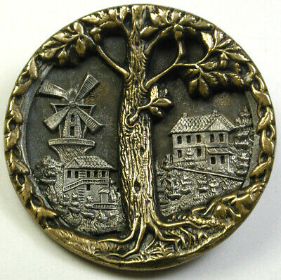 BB Antique Brass Button Giant oak Tree & Village with Windmill  1 & 9/16""