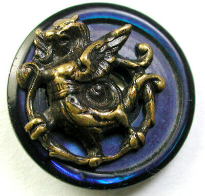 Antique Iridescent Shell Button w/ Brass Dragon Fabulous Creature - 5/8""