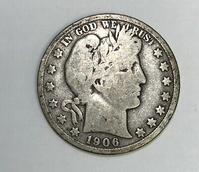 1906 D Barber Half Dollar 90% Silver Coin Good Details