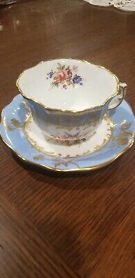 Hammersley & Co Bone China England Cup Saucer Floral Gold Trim