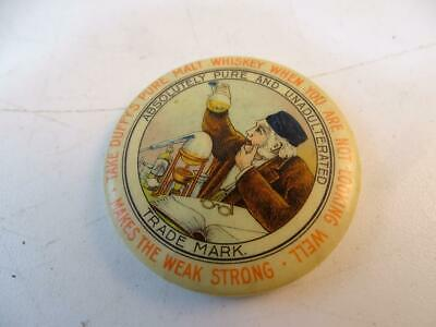 Antique Advertising Pocket Mirror Duffy's Malt Whiskey Medicinal Vtg Celluloid