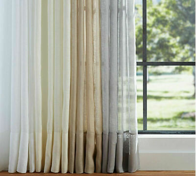 Sheer Curtains Voile Window Panel Drapes Solid Eyelet 140cm Width x 220cm Drop