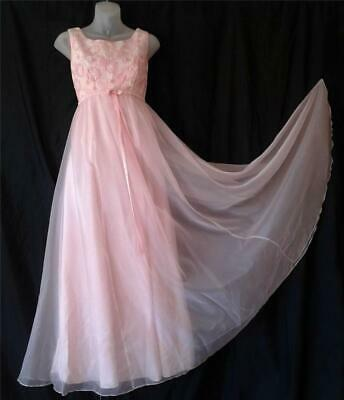 4e1e878261f43 WHIMSICAL FLORAL PINK CHIFFON Vintage 1960s Empire Waist PARTY MAXI DRESS  GOWN