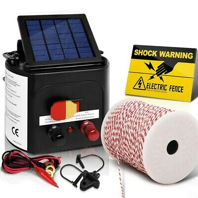Giantz 5km Solar Electric Fence Energiser Charger 0.15J Farm Poly Wire