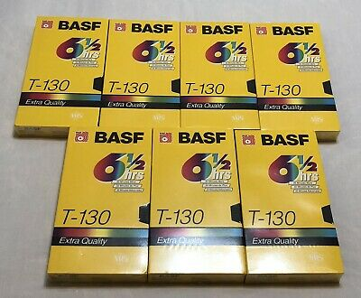 BASF T-130 EQ Extra Quality 7 VHS Blank Tapes Lot NEW FACTORY SEALED 6 1/2 hour