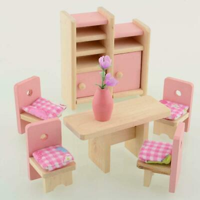 Dolls House Furniture Wooden Dinning Dolls Toys For Kids Children Gifts New #Aк
