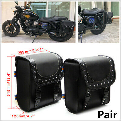 2PCS Universal PU Leather Motorcycle Retro Tool Bags Saddle Bag+Mounting Straps