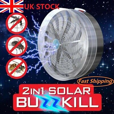 Solar Power Buzz UV Lamp Light Fly Insect Bug Mosquito Kill Zapper Killer+Socket