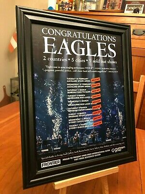 "BIG 10x13 FRAMED THE EAGLES ""2019 WORLD TOUR"" (AUSTRALIA & NEW ZEALAND) PROMO AD"