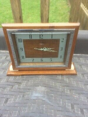 Rare Art Deco Wood And Bakelite Smiths Mantle Clock