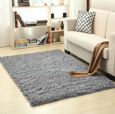 Modern Soft Thick Shaggy Nonshed Pile Plain Rug Small Large Medium Size Mat