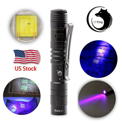UV Ultra Violet LED XPE 395NM LED Flashlight Blacklight Inspection Torch USA