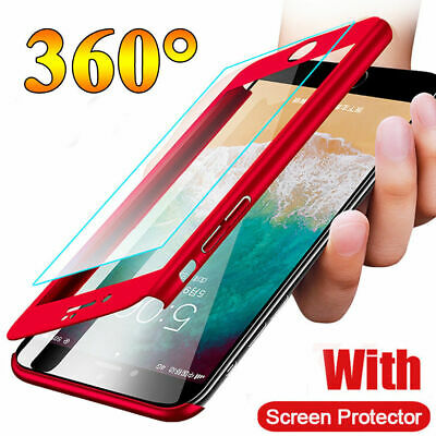 360° Full Body Hybrid Case Cover+Tempered Glass For iPhone XS XR X 8 7 6 Plus