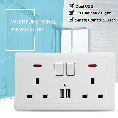 Double Wall Plug Socket 2 Gang 13A + 2 USB Charger Port Outlets  Plate +2 Switch