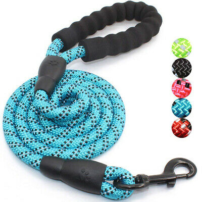 5FT Reflective Extra Strong Soft Rope Dog Pet Lead Leash Padded Handle Large M