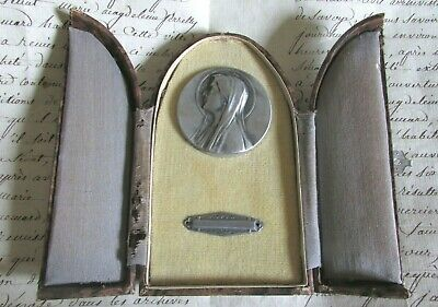 Antique French Rare Cased Travelling Religious Medal Marie Mary Madonna c1900