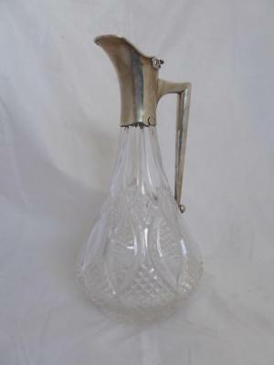 Antique 1923 John Grinsell & Son Solid Silver Crystal Glass Claret Jug Decanter