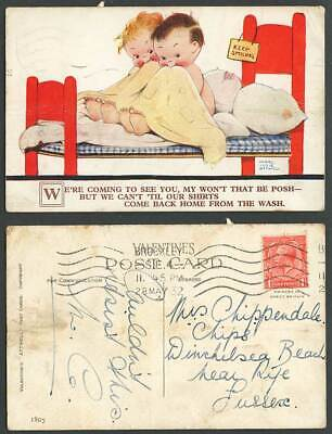 MABEL LUCIE ATTWELL 1932 Old Postcard Can't See U Til Shirts Back from Wash 1805