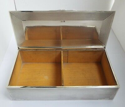 Superb Large Heavy English Antique 1936 Sterling Silver Cigarette Box Solid Lid