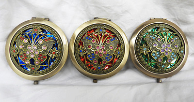 Art Deco Style Jewelled Enamelled Brass Compact / Handbag Mirror -  BNWT