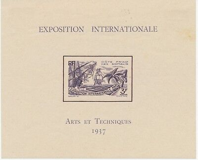 FRENCH SOMALIA 1937 World Exhibition Paris VF M/M MS –imperforated stamps are UM