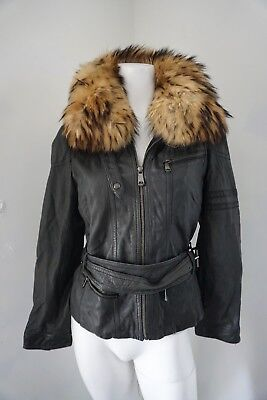 ce1d643f61d ANDREW MARC FUR Accented Leather Hooded Jacket Size Small Bomber Motorcycle