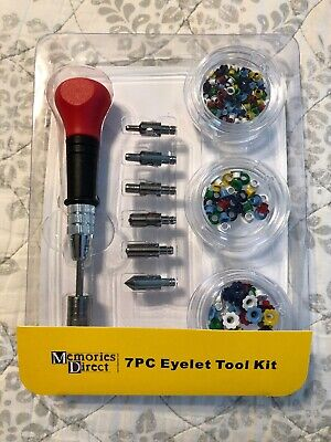 Memories Direct 7 Pieces Eyelet Tool Kit Craft 3 Sized Holes & Eyelets Scrapbook