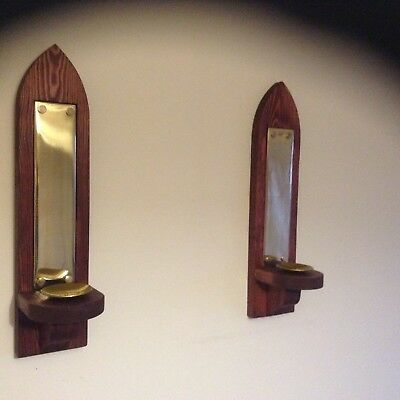 Pair of Rustic Candle Sconces in Deep Mahogany and Brass finish