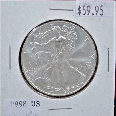 1998 Silver American Eagle BU 1 oz Coin US $1 Dollar Uncirculated Brilliant *998